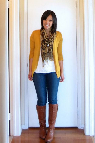 Mustard yellow cardigan with white t-shirt and silk fringed scarf