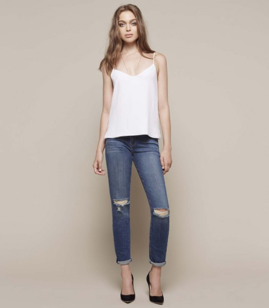 white vest top with cigarette jeans