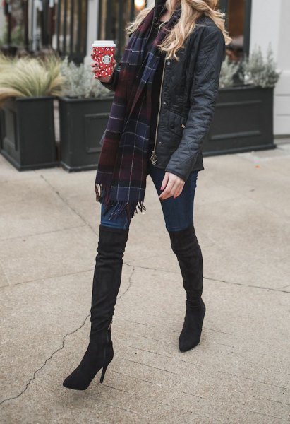 dark blue and black plaid wool scarf