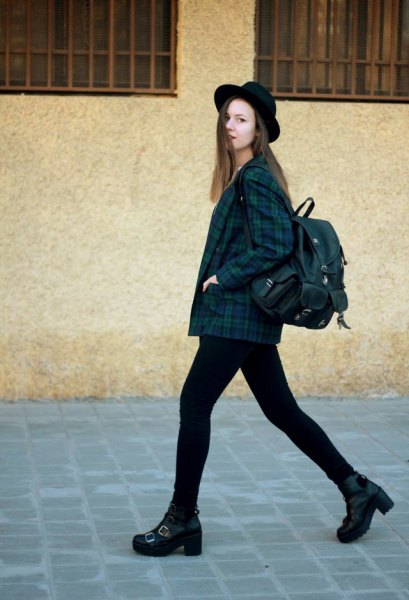 Navy and green plaid jacket, black skinny jeans
