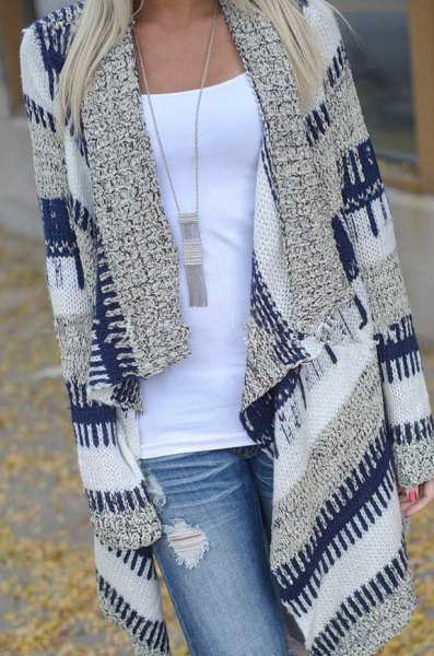 dark blue and gray striped longline cardigan with light blue jeans