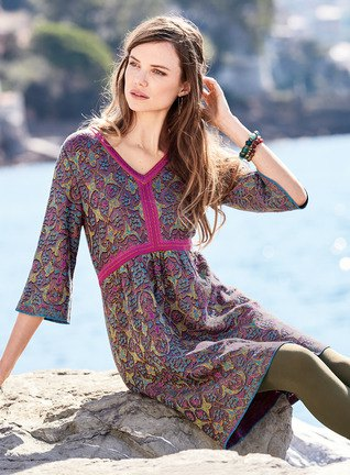 Dark blue and gray tribal top with three-quarter sleeves and stockings