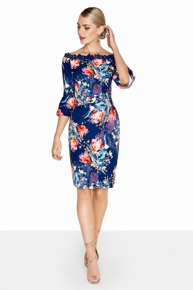 knee-length dress with a dark blue and orange floral print
