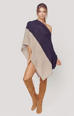 Navy and light pink cashmere wrap as a dress