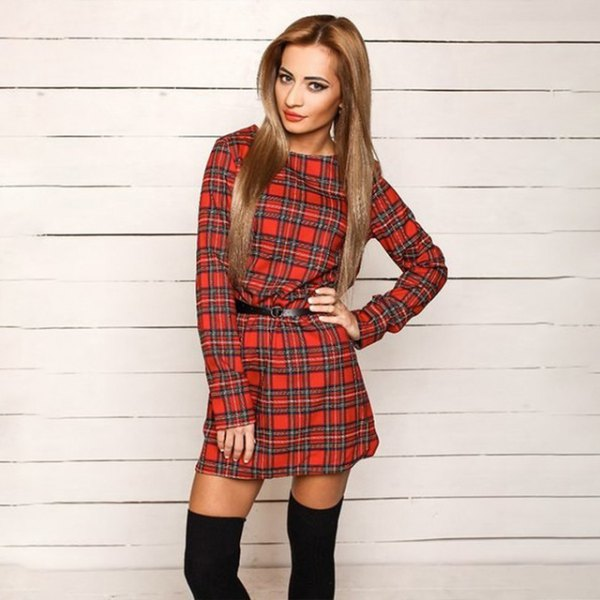 Dark blue and red long-sleeved checked tunic with belt and thigh-high socks