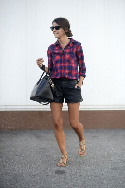 dark blue and red checkered leather shirt shorts