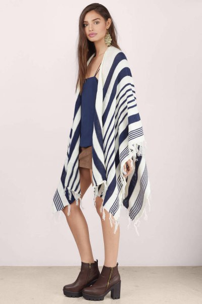 Navy and white blanket cardigan mini skirt outfit