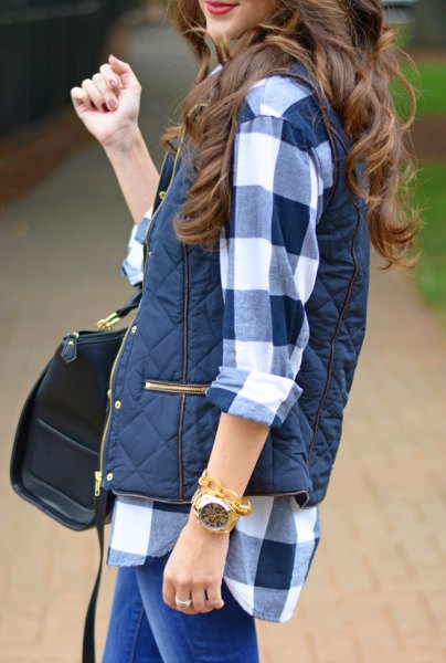 Navy and white flannel shirt with dark blue quilted vest