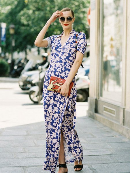 dark blue and white maxi side slit dress with open toe heels