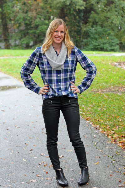 dark blue and white checked boyfriend shirt with black jeans and boots