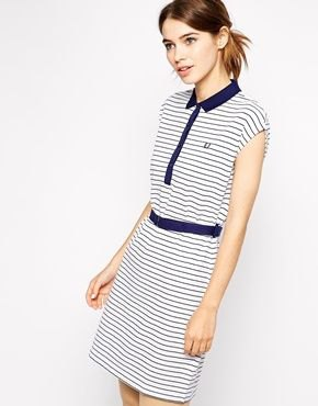 sleeveless polo shirt dress in navy and white with belt