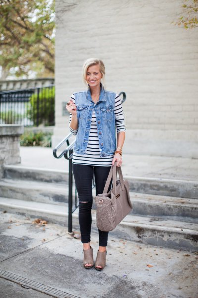 dark blue and white striped long sleeve t-shirt