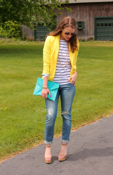 dark blue and white striped long sleeve T-shirt with yellow blazer