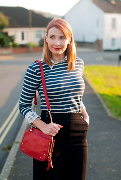 dark blue and white striped t-shirt with white collar