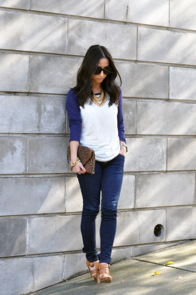 Navy Baseball T-Shirt Jeans Statement Necklace