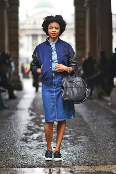 Navy blue and black leather jacket with a chambray shirt and denim skirt