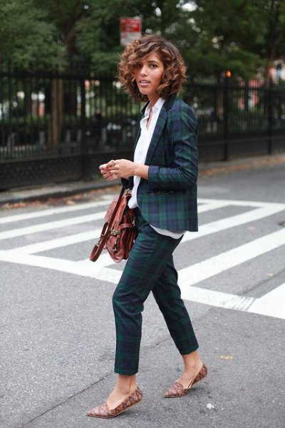 Dark blue and green checked blazer with a white shirt
