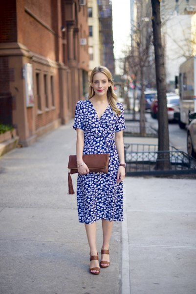 Dark blue and white midi dress with floral print and V-neck