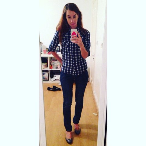 Dark blue and white checked, narrow cut shirt with dark jeans