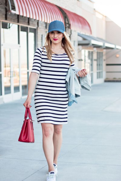 Dark blue and white shift dress with baseball denim cap
