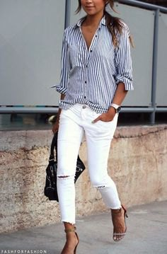 dark blue and white striped shirt with buttons and ripped white skinny jeans