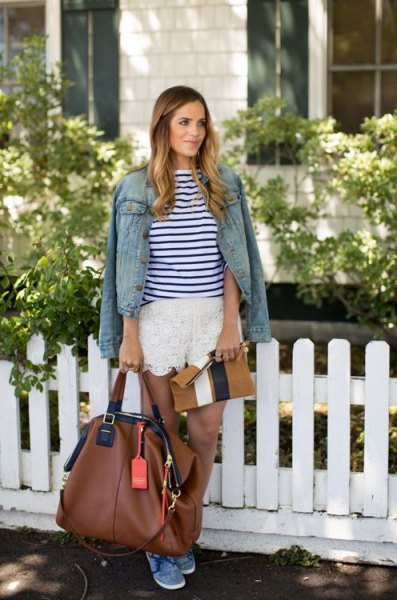 dark blue and white striped long-sleeved T-shirt with denim jacket