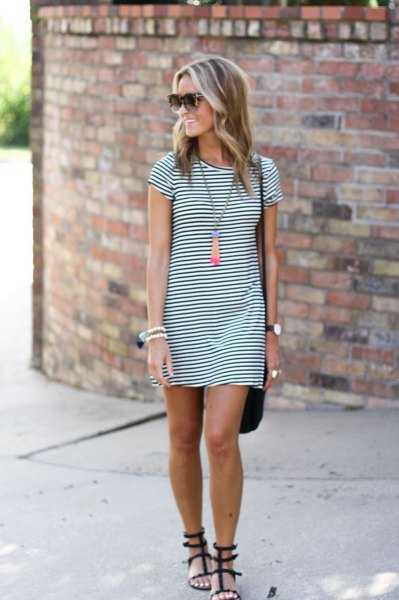 dark blue and white striped mini T-shirt dress and black strappy sandals
