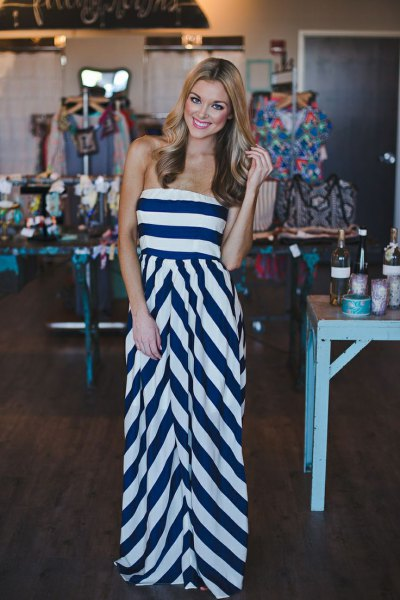 Dark blue and white striped strapless fit and floor length slim dress