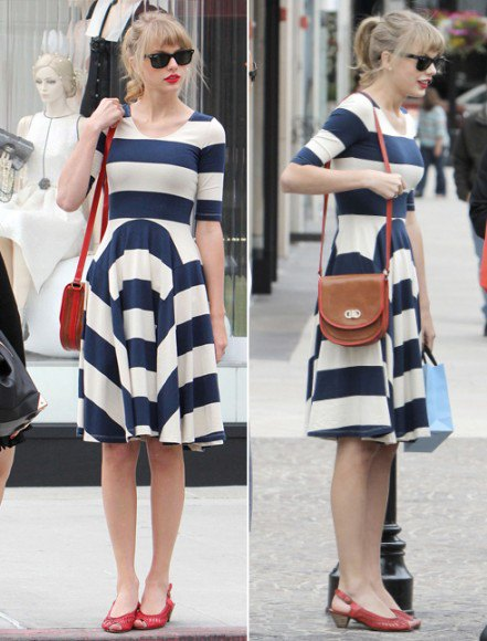 Dark blue and white, wide striped and flared dress with red kitten heels with open toes