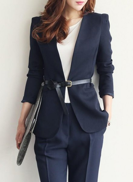 Dark blue blazer with belt and matching chinos