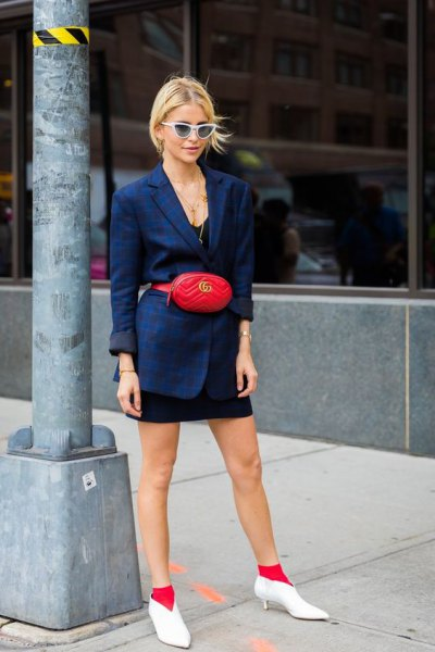Navy blue blazer with black mini dress and white short leather kitten heel boots