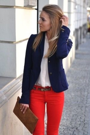 Navy blue blazer with white chiffon blouse and red skinny jeans