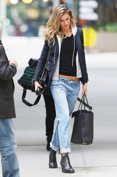 Dark blue blazer with white hooded sweater with zipper and black, cropped T-shirt