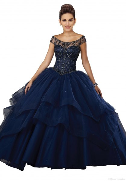 Dark blue floor-length dress with a boat neckline and flared tulle