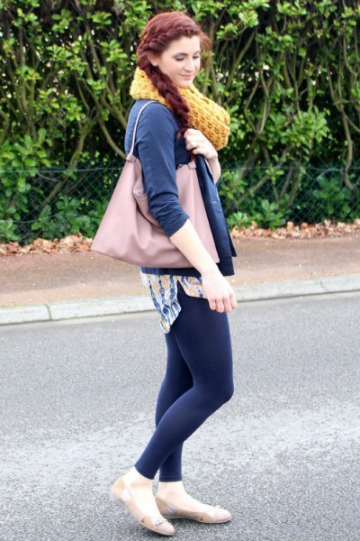 Dark blue bomber jacket with matching leggings and tunic blouse