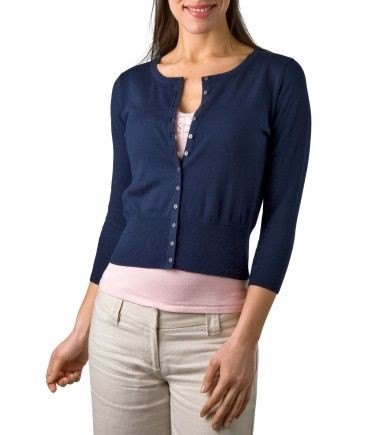 Dark blue cardigan with button closure and white t-shirt with scoop neck