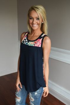 Navy blue color block flow tank top with ripped jeans