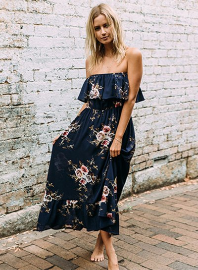 Dark blue maxi dress with ruffled shoulder and floral pattern