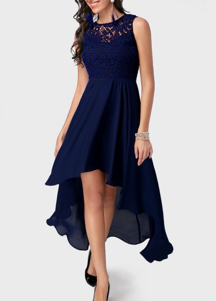 Dark blue high low maxi dress with silver sequin bracelet