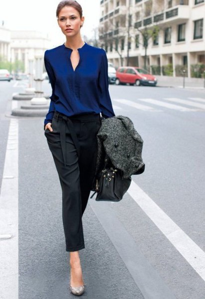 Dark blue keyhole blouse with black, cropped jeans with straight legs
