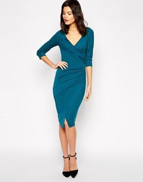 Dark blue midi wrap dress with long sleeves and V-neck
