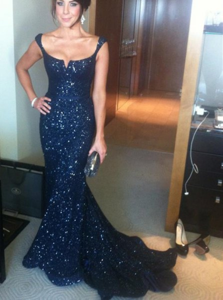 Navy blue mermaid sequined occasion dress with low scoop neckline