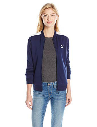 Dark blue Puma sports jacket with gray T-shirt and skinny jeans