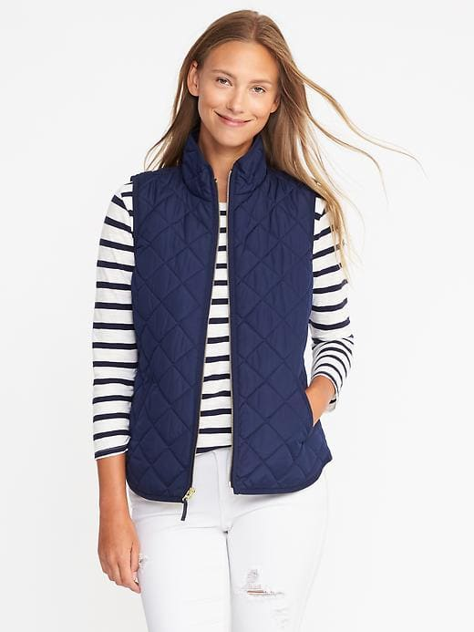 dark blue quilted vest striped t-shirt