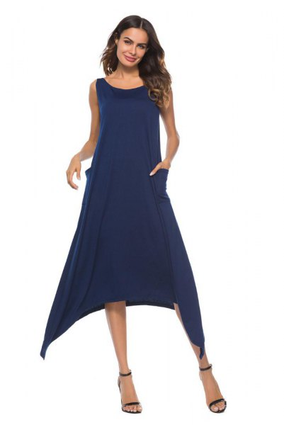 Dark blue sleeveless midi swing dress with open toes