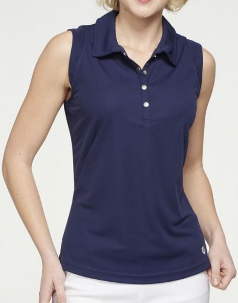 Dark blue, sleeveless polo shirt with a slim fit and white trousers