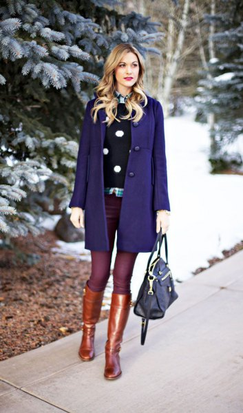 Dark blue wool coat dress with gold knee high boots