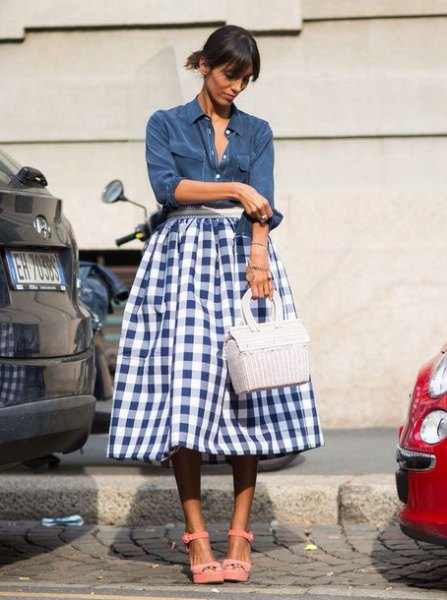 Navy button-up shirt with a high-waisted midi skirt
