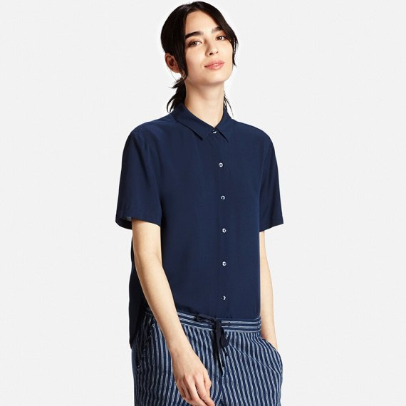 Navy Button Up Short Sleeve Rayon Shirt Striped Wide Leg Pants