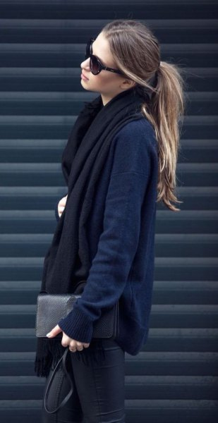 Navy cardigan with black long scarf and leather pants